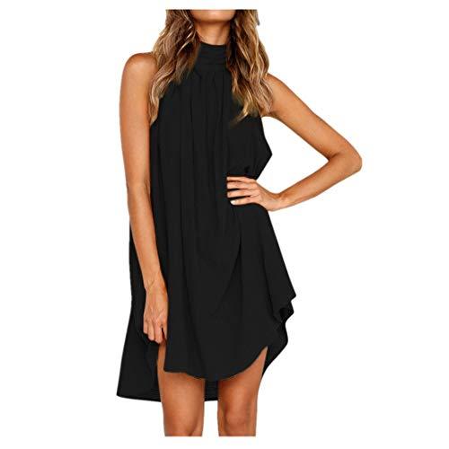 BHYDRY Damen Urlaub unregelmäßige Kleid Damen Sommer Strand ärmelloses Partykleid(X-Large,Schwarz)