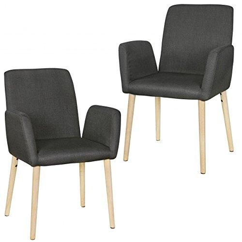 FineBuy Design Esszimmerstuhl 2er Set FB6734 mit Armlehnen