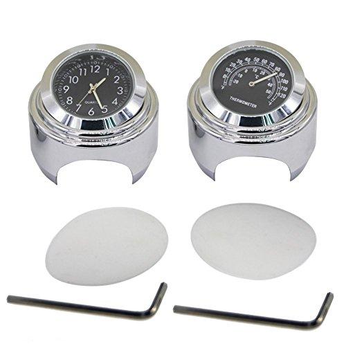 Uhr Auto Honda (WINOMO 2 Set Motorrad Lenkeruhr und Thermometer für Yamaha Kawasaki Honda Suzuki Harley Davidson)