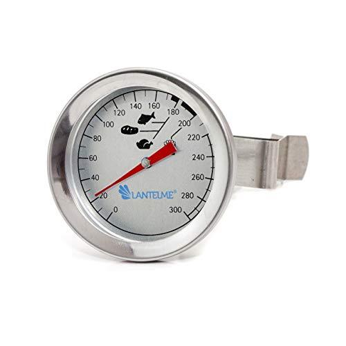 Lantelme Fritteusen Öl Fett Thermometer 300 °C Edelstahl mit Clip Halterung Bimetall Analog Küchen Frittier Bedarf 4423 -