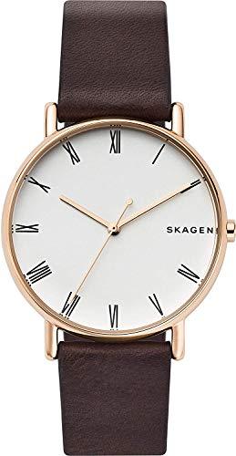Skagen Signatur Orologio da uomo in pelle marrone e quadrante bianco SKW6493
