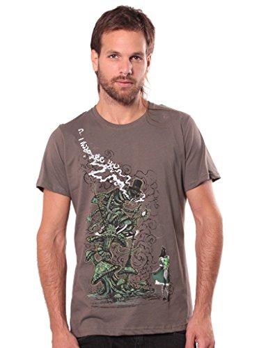 T-Shirt mit Caterpillar Alice IM Wunderland Aufdruck - Grau Braun - Medium - Handgefertigt durch Siebdruck Festival Tee (Braune Top Hat)