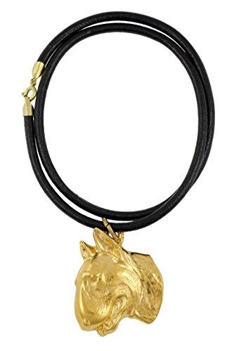 Bullterrier (flat medallion), Gold Feingehalt 999 beschichtet Halskette, Limitierte Edition, Art Dog