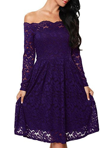 Azbro Women's off Shoulder Long Sleeve Lace Bridesmaid Cocktail Dress red