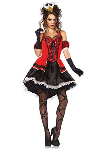 erz-Königin Kostüm Damen Luxus Herzkönigin Kleid Spielkarte-n-Kostüm Karneval Damen-Kostüm Größe 42/44 ()