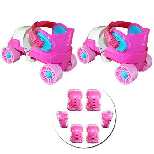 ZCRFY Inline-Skates Kinder Rollschuhe Schlittschuhe Zweireihig 4-Rad-Gleitschuhe Einstellbare Größe Skating Anfänger Kids Für 2-8 Jahre Altes Baby-Geburtstagsgeschenk,Pink-Set2-(20-34) Code