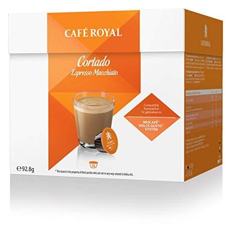 Café Royal Cortado 48 cápsulas compatibles con Nescafé* Dolce Gusto* - 3 x Pack de 16 cápsulas - UTZ de cultivo sostenible - de excelente Calidad Suiza