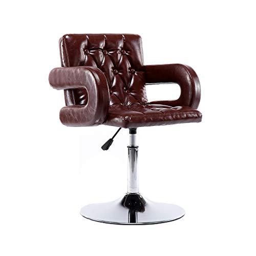 GXDHOME Hohe Barhocker, höhenverstellbare 360 Grad Swivel Weiche Bequeme PU Leder Chrom Edelstahl Esszimmer (Farbe : Brown)