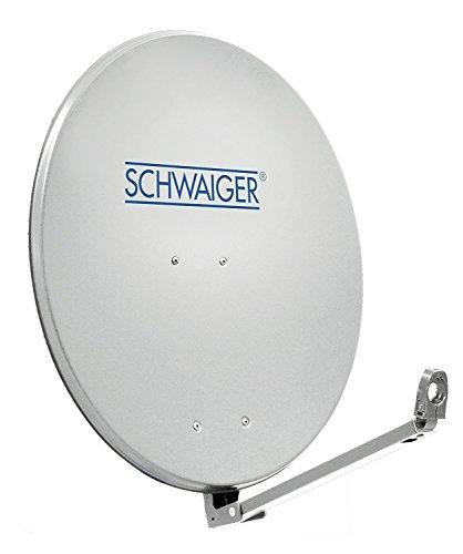 SCHWAIGER -241- Satellitenschüssel, Sat Antenne mit LNB Tragarm und Masthalterung, Sat-Schüssel aus Aluminium, Hellgrau, 88 x 88 cm