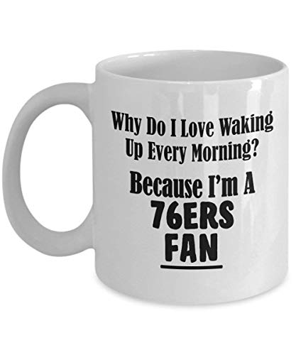 LINGJIE Strong Stability, Anti-Breaking, 76ers Fan Kaffeebecher - Love Waking Up Every Morning – Basketball Team Sports Ceramic Coffee Tea Cup – 11 oz