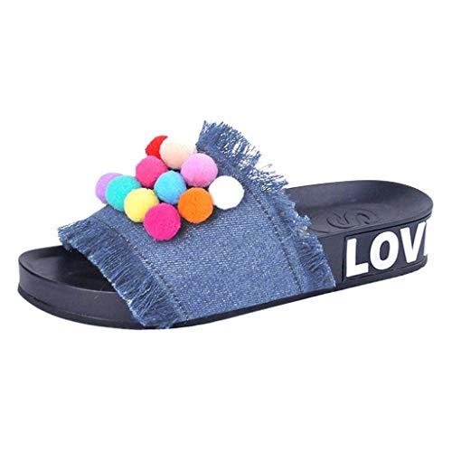 SANFASHION Frauen Handgemachte Denim Farbe Hairball Flache Flip Flops Home Mode Hausschuhe Damen Sommer Schuhe