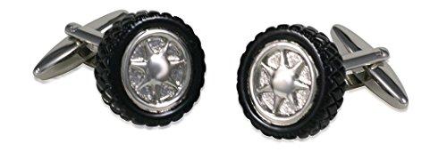 Manschettenknöpfe Autoreifen Felge Autorad schwarz-silbern plus Silberbox (Manschettenknöpfe Felgen)