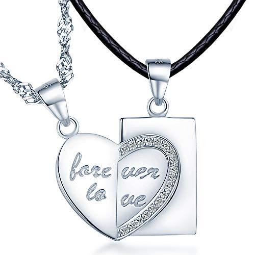 """Unendlich U\""""Forever Love\"""" Partner-Ketten mit Laser-Gravur Partnerschmuck 925 Sterling Silber Anhänger Paar Halskette Geschenk für Liebste"""