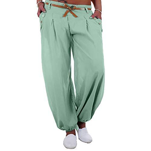 WOZOW Damen Harem Kurze Hosen Übergröße Solid Bettwäsche Baumwolle Lose Pants Low Waist Straight Leg Bequem Yoga Lang Ankle Pumphose (M,hellgrün)