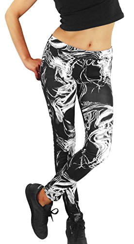 Sportliche Damen printed glanz Leggings neon-pink oder grau-weiß gemustert, Größe:L/XL, Farbe:Grau (Frauen Leggings Versandkostenfrei)