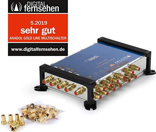 Anadol Gold Line 5/12 digitaler Multischalter [ Test SEHR GUT ] Multiswitch für 1 Satellit und 12 Ausgänge/Receiver - mit externem Netzteil - 17 vergoldete F-Stecker gratis