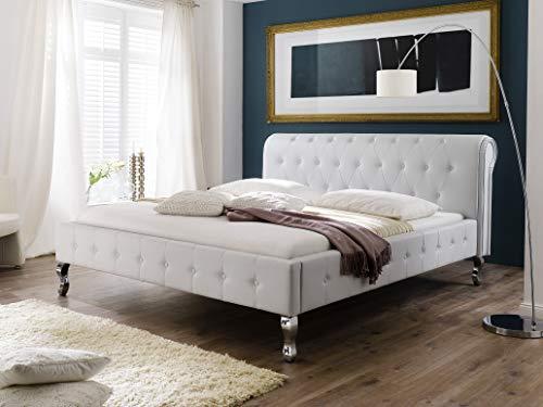 Schlichter Möbel Polsterbett Barock Kunstleder Weiß (200 x 200 cm)