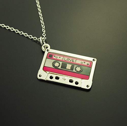 Kette Tape Kassette Love Liebe pink Retro Musik Radio Anhänger silbern Juvelato