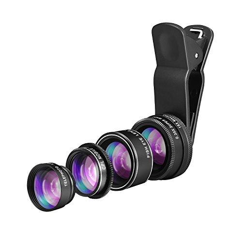 Techo 5in 1HD Kamera-Objektiv Kit [Objektiv Fisheye, Makro Objektiv, 0,35x Weitwinkelobjektiv, 2x Zoom Teleobjektiv, CPL] Handy Objektiv für iPhone X, 8, 8Plus, 7,6, SE & die meisten Smartphones