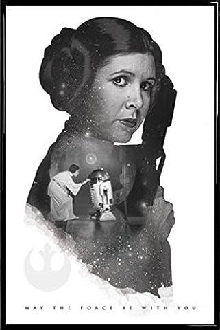 Star Wars Poster et Cadre (Plastique) - Princesse Leia, Que La Force Soit Avec Vous (91 x 61cm)