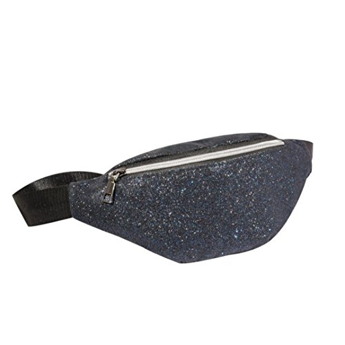 Gusspower Deportes Bolsa Ocasional Cintura Paquete Cintura Bolso Color sólido Lentejuelas Regalo de Navidad (Azul)