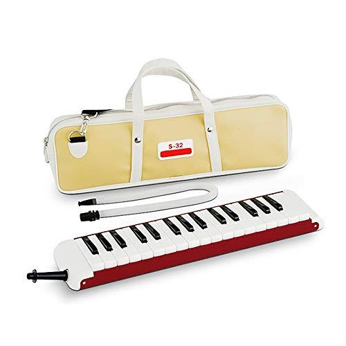 Zahnklavier High Grade 32 Keys Portable Professionelle Erwachsene Melodica Musikinstrument Mit Tragetasche Geschenk Spielzeug Für Musikliebhaber Anfänger Kinder Mundstücke Rohr Sets Rot Klavierharmoni