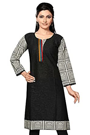 Desi Aura Women's Cotton Long Straight Kurti(DAK0366_MULTI-COLOURED_5X-LARGE)