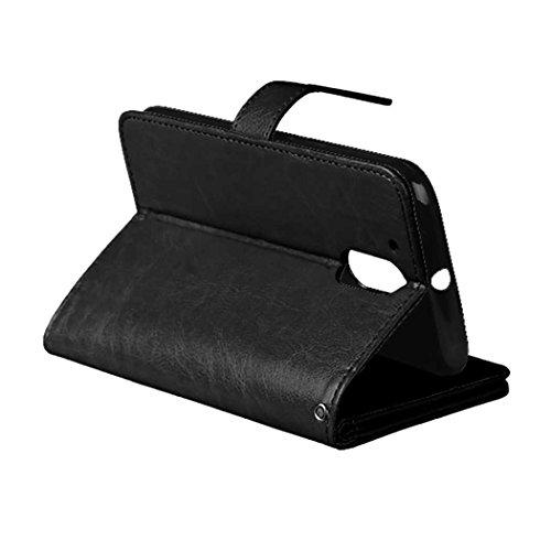 MOTO G4 G4 Play Tasche Flip Folio Case Solid Farbe Premium Synthetik-Leder-Kasten-Standplatz-Mappen-Kasten-Kasten mit 9 Karten-Bargeld-Slots für MOTO G4 G4 Spielen ( Color : Black , Size : MOTO G4 G4  Black