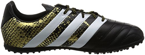 adidas Ace 16.3 Tf J Leather, Chaussures de Football Garçon Noir (Core Black/ftwr White/gold Metallic)