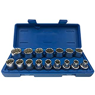 Alkan-Werkzeug 16-Piece Multi-Toothed Socket Wrench Set, 12-Point, 1/2-Inch Drive, 8 - 24 mm