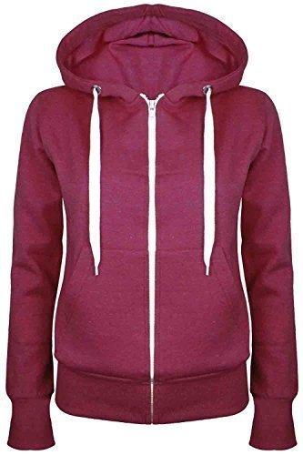 Oops Outlet Damen Einfarbig Kapuzenpulli Mädchen Reißverschluss Top Damen Kapuzenpullis Sweatshirt Mantel Jacke Übergröße 6-24 - Wein, Übergröße 4XL (48/52)