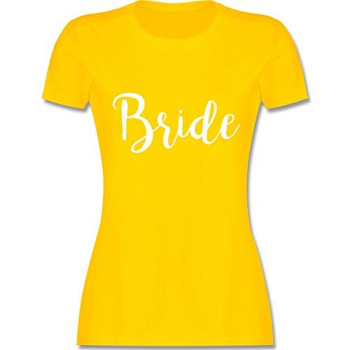 Shirtracer JGA Junggesellinnenabschied - Bride Lettering - Damen T-Shirt Rundhals Gelb