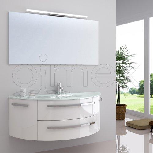 """OimexGmbH Design Badmöbel Set """"Côte d'Azur"""" Weiß Hochglanz Waschtisch 120cm inkl. LED Beleuchtung Armatur und Spiegel Badezimmermöbel Set mit Glas Waschbecken"""