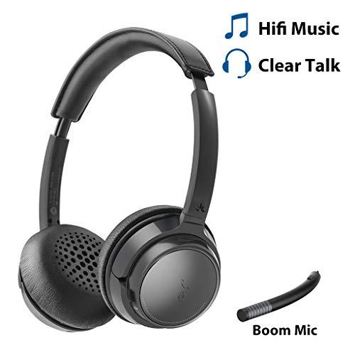 Avantree auf den Ohren Aufliegende Bluetooth-Kopfhörer mit Abnehmbaren Mikrofon, Hi-Fi Kabelloses Headset, 22 Stunden Spielzeit, für das Home-Office, PC Computer, Skype, Telefone, Tablets - AH6B