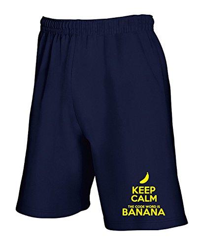 Cotton Island - Pantalone Tuta Corto WC0433 Keep Calm, Banana, Taglia L