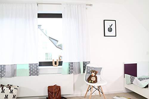 ULLENBOOM ® Patchwork Vorhänge Kinderzimmer 140x170 cm Mint Grau (Babyzimmer Gardinen aus Baumwolle, 2 Schals mit Tunnelzug, Motiv: Sterne, Punkte)