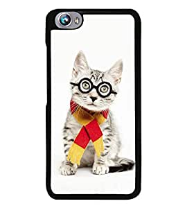 PrintVisa Designer Back Case Cover for Micromax Canvas Fire 4 A107 (Cute Cat With Glasses and Scarf)
