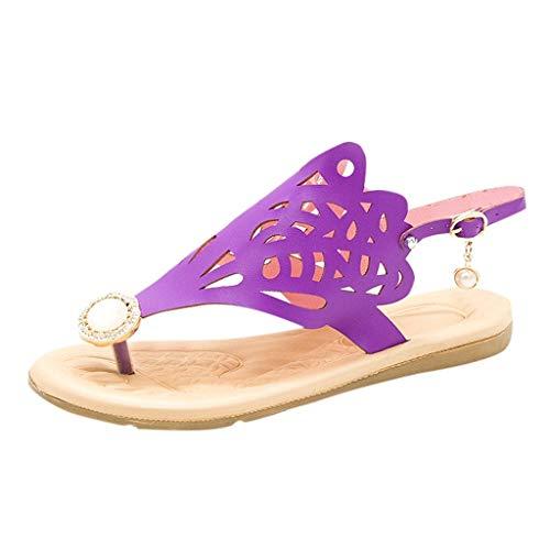 iYmitz Böhmische Flache Sandalen Schuhe weibliche Sommer Beiläufige Römersandalen mit Perle Hohlen Strand Sandaletten Outdoor(Violett,EU 37)