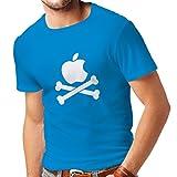 lepni.me N4269 Männer T-Shirt Lustiger Apfel und Knochen (XX-Large Blau Weiß)