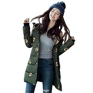 Oasics Damen Jacke Mantel Mode Mittellange Baumwolle Über Knie Verdicken Winterjacke Gedruckt Brotjacke L-3XL