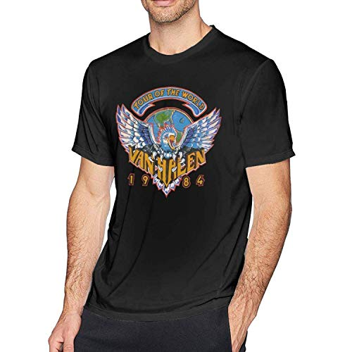 13eeae35 MYHL Mens Funny Van Halen Tour of The World 1984 Logo T Shirt Black