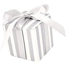 JZK® 50 piezas, Con las cintas, Raya de plata, Boda Cajas favor caja, Papel pequeño Cajas de regalo caja Para los bolsos del regalo del partido.