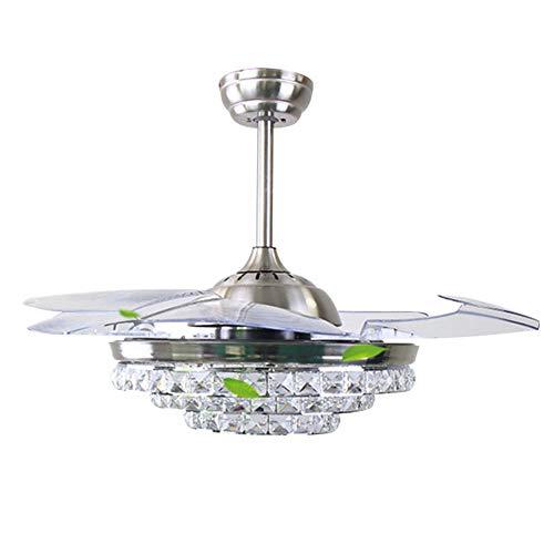 Ventola da soffitto moderna elegante da 42 pollici con 4 pale della ventola trasparenti a scomparsa e luci a led con dimming a colori 38w3, regolazione a 3 velocità del telecomando e sincronizzazion
