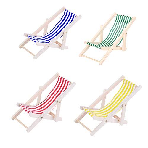 JZK 4X Mini hölzern Puppen Deko-Liegestuhl Puppenliegestuhl 1:12 Puppen Haus Miniatur puppenliegestuhl für innen draussen Garten Strand am Meer
