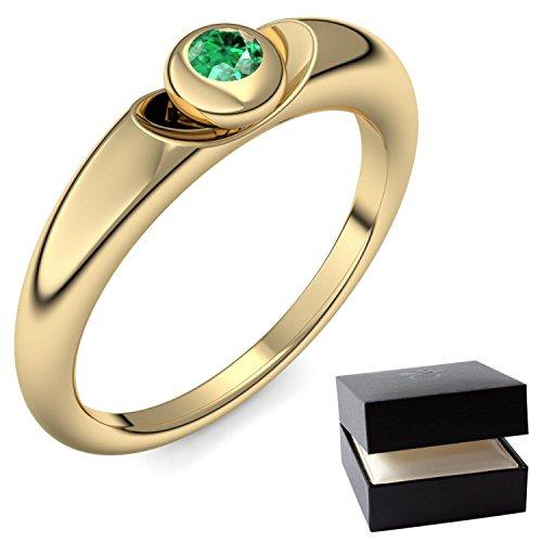 Goldring Smaragd 750 + inkl. Luxusetui + Smaragd Ring Gold Smaragdring Gold (Gelbgold 750) - Escape Amoonic Schmuck Größe 60 (19.1) AM15 GG750SMFA60