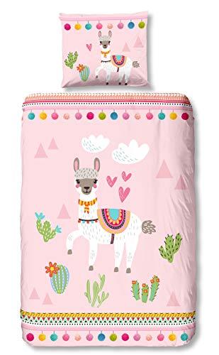 Aminata Kids - Kinder-Bettwäsche-Set 135-x-200 cm Lama-Motiv Kaktus Deko Alpaka Einhorn 100-% Baumwolle Renforce rosa Weiss bunt-e Mädchen und Damen