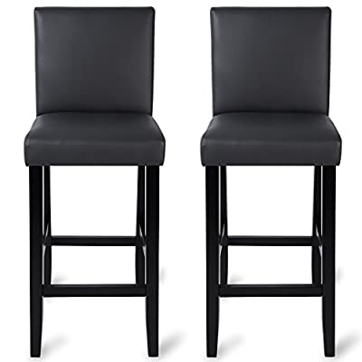 Woltu #202-2 2 x Faux Leather/Linen Bar Stools Wood Bar Stools/Chairs with High Backs and Luxury Padded Seat produced by Woltu - best deals