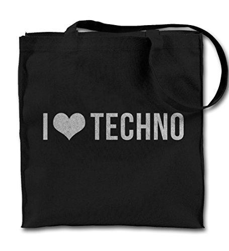 I Love Techno Music Komisch Cool Motivation Schwarz Canvas Tote Tragetasche, Tuch Einkaufen Umhängetasche