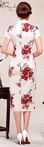 Eyekepper Sexy Femme Florale Long Chinoise Robe Soiree Cheongsam Beige