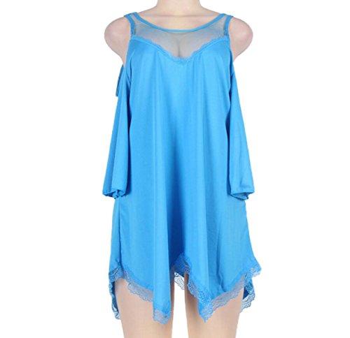 Pigiama Donna Sexy Pigiama Erotico XL Garza Prospettiva Lingerie Camicie Da Notte Allentate Regali Di Natale Blue